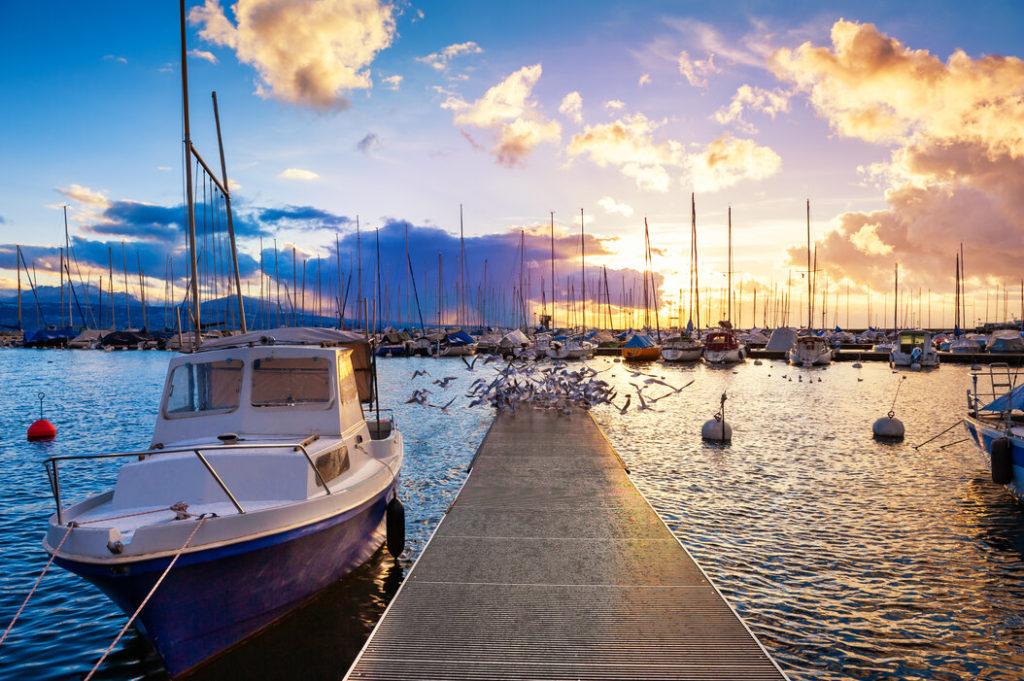 Ein Steg ragt bei Sonnenuntergang in die die Bildmitte auf den Genfersee, links liegt ein Boot an und am Ende des Stegs befindet sich ein Schwarm Möwen.