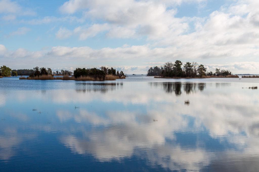 Blick über den Kalmarsund in Schweden. Im Hintergrund befinden sich kleine Inseln mit Büschen, Bäumen und hohem Gras.