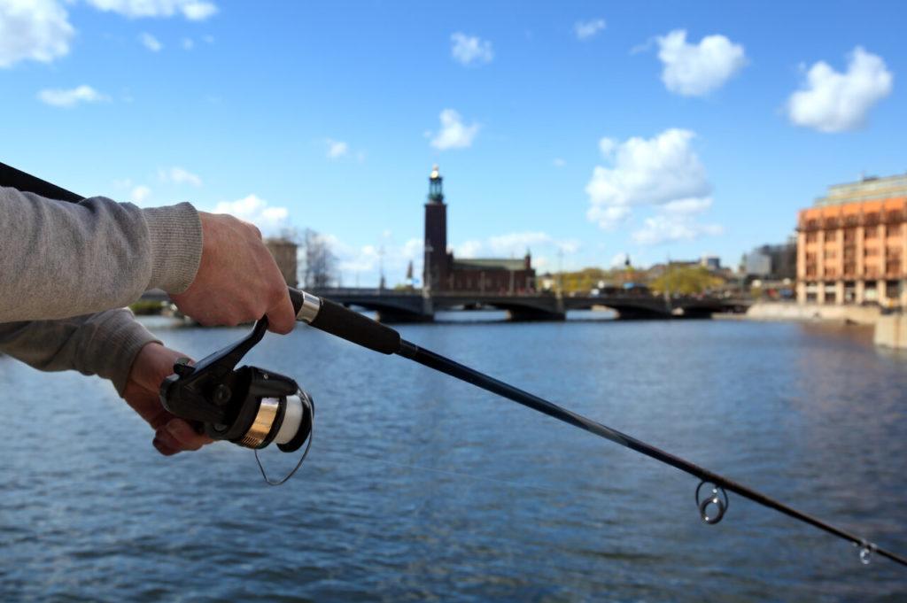 Ein Angler hält eine Spinnrute. Im Hintergrund ist die Altstadt Stockholms zu erkennen.